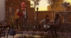 Double date... (drayton.miles) Tags: edgar edward kelsey miles drayton mesh valentin val wolfram franz delacroix second sl secondlife slytherin hogwarts hufflepuff gryffindor ravenclaw date hearts flowers cake presents love valentines day sunset town set rp roleplay