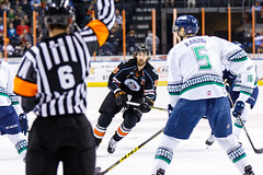 """Kansas City Mavericks vs. Florida Everblades, February 18, 2018, Silverstein Eye Centers Arena, Independence, Missouri.  Photo: © John Howe / Howe Creative Photography, all rights reserved 2018 • <a style=""""font-size:0.8em;"""" href=""""http://www.flickr.com/photos/134016632@N02/40387904701/"""" target=""""_blank"""">View on Flickr</a>"""