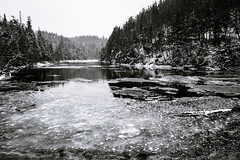 ice edge (Port View) Tags: fujixe3 hallsharbour novascotia canada cans2s 2018 winter snow ice tide tidal high reflection brook stream river trees hills blackandwhite bw monochrome mono floating edge landscape