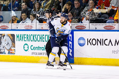 "Kansas City Mavericks vs. Toledo Walleye, January 20, 2018, Silverstein Eye Centers Arena, Independence, Missouri.  Photo: © John Howe / Howe Creative Photography, all rights reserved 2018. • <a style=""font-size:0.8em;"" href=""http://www.flickr.com/photos/134016632@N02/24969300077/"" target=""_blank"">View on Flickr</a>"