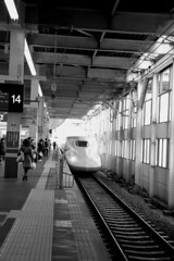 IMG_3924 (jumppoint5) Tags: blackandwhite light shadow train hiroshima japan urban city contrast
