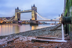 City Lights Into Blue. (Andy Bracey -) Tags: bracey andybracey andybraceyphotography river thames riverthames landscape cityscape towerbridge bridge longexposure leefilters shininglights bluehour london southbank reflection outlet wastepipe sewer thamesforeshore foreshore citylightsintoblue lights reflections motionblur