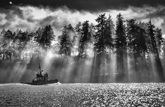 Tug boat in fog-2.jpg (Fishguy photo) Tags: water ocean pacific fog foggy sunrise tug boat northwest tide saltwater waves blackwhite nikon clouds sun mist nikon70200mm d750