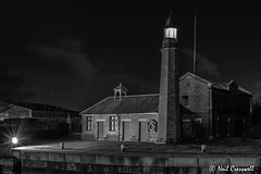 Whitby Locks Lighthouse (crezzy1976) Tags: nikon d3300 nikkor1855 crezzy1976 photographybyneilcresswell outdoors afterdarkphotography nightphotography architecture lighthouse lightburst blackandwhite monochrome cloudysky ellesmereport cheshire uk manchestershipcanal