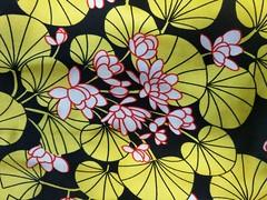 032 Waterlily, swatch (QQ5XCZAU6OKQMU7MCICHIN4N3X) Tags: stretch floral lily lotus leaves lilypad green yellow leonaedmiston leonaedmistonruby ruby 2012 australiandesigner lookbook
