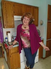 """""""Hi, Dear; What A Nice Surprise!"""" (Laurette Victoria) Tags: mom mother kitchen leggings auburn laurette woman"""