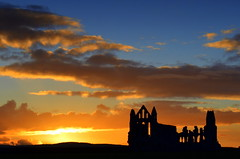 Whitby Abbey at Sunset (Tony Worrall) Tags: sun sunset shine gold golden settingsun sunlit late dusk night evening sky glow glowing hue beauty nature outside outdoors glowingsun england northern uk update place location north visit area county attraction open stream tour country welovethenorth relic abbey ruins stone built building ruined historic past pastime yorkshire yorks scene scenery whitby northyorkshire resort whitbyphotos photographsofwhitby yorkshirephotos east eastern whitbyabbey nice weather clouds perfect buy stock sell sale