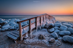 The Frozen Bridge (Matt Rimkus Photography) Tags: schleswigholstein morning sunrise bridge sky water frost balticsea snow jetty longexposure winter ice travemünde