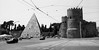Roma, Porta Paolo (Dylan H, from the road) Tags: eu europe italy italia roma rome architecture cemetary blackandwhite blacknwhite bnw protestantcemetary pyramid castle gate citywall