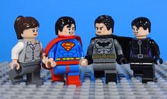 Double Date (-Metarix-) Tags: lego super hero minifig dc comics comic superman batman lois lane cat woman selina kyle bruce wayne clark kent date double detective action rebirth universe