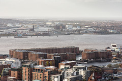 River Mersey and Liverpool Docks (Joe Dunckley) Tags: albertdock birkenhead britain british canningdock cheshire england english greatbritain lancashire liverpool liverpoolcathedral liverpooldocks merseyside rivermersey uk unitedkingdom wirral aerialview apartmentbuilding architecture birdseyeview building cathedral church city cityscape dock docks ferriswheel fromabove harbour house houses housing river sunny warehouse warehouses water