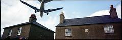 Hatton Cross. Heathrow. UK. (tonywright617) Tags: aircraft hattoncross heathrow uk fujicag617 panoramic kodak iso400 120 mediumformat film