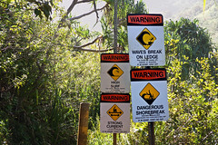 A Sign of Things to Come (AGrinberg) Tags: hawaii 63318warningsigns kauai napali coast hike signs warning waves break dangerous surf current hanakapi'ai