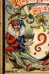 The Jester (gripspix (OFF)) Tags: fragantwortspiel josefscholzverlag mainz partygame tablegame gesellschaftsspiel vintage alt 19thcentury um1900 cover titelbild schachtel box detail