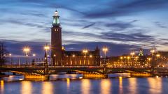 Stockholm City Hall (Jens Haggren) Tags: stockholm cityhall city lights reflections sky water bridge le longexposure sweden