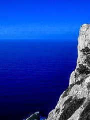 ―at the edge of the ocean 🌊 (anokarina) Tags: adobephotoshopexpress colorsplash spain capdeformentor balearicislands mallorca majorca casioexz60 españa balearicsea blue azure cliff horizon