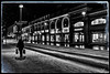 Untitled 00.63 (ViTaRu) Tags: canon 6d 35f14l urban city cityscape evening night nighttime nightlights nightshot noir mood winter people walking snow ice bags facade retail hesburber centrum varsinaissuomi turku finland monochrome road sign
