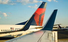 Side by side (Maxime C-M ✈) Tags: usa travel airplane airport aviation boston massachusetts america passion evening colors beautiful discover squad wing winglet sun