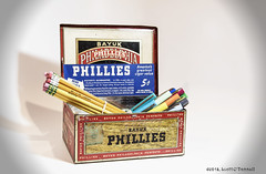 Cigar Box (scottnj) Tags: 365the2018edition 3652018 day35365 04feb18 scottnj scottodonnellphotography cigarbox pen pens pencil pencils phillly phillies bayuk metalcigarbox aluminumcigarbox stationary 5centcigar