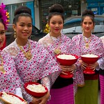 Thai People in Traditional Dress Waiting to Join the Chiang Mai Flower Festival Parade 175 thumbnail
