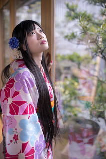 Young woman in kimino looking at garden from traditional Japanes