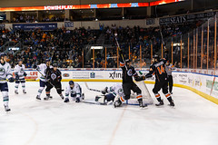 "Kansas City Mavericks vs. Florida Everblades, February 18, 2018, Silverstein Eye Centers Arena, Independence, Missouri.  Photo: © John Howe / Howe Creative Photography, all rights reserved 2018 • <a style=""font-size:0.8em;"" href=""http://www.flickr.com/photos/134016632@N02/38577422750/"" target=""_blank"">View on Flickr</a>"