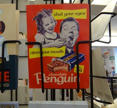 Chocolate Penguin. Jan 2018 (SimonHX100v) Tags: sign signs logo poster funny fun humour humor innuendo irony old