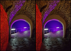 into the blue... (tom fei) Tags: stereogram 3d red blue evening wet crosseye crosseyed crossview kreuzblick architecture stone rot blau abend nacht night