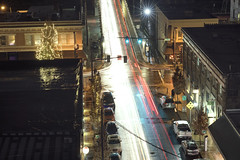 7th and Main (Curtis Gregory Perry) Tags: oregon city night street road avenue 7th main long exposure wet rain building birdseye view nikon d810 car traffic trail