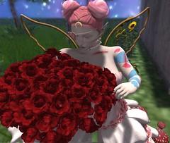 Fairy Flowers (monstraus.morbid) Tags: sl secondlife albino moon moonfairy fairy roses flowers boquet smellingflowers garden gardenfairy bombshell boudoir kowaii kawaii