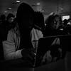 Hooded (Jeremy Brooks) Tags: bw blackwhite blackandwhite california computer laptop people sanfrancisco sanfranciscocounty strangers strangersontheferry usa camera:make=apple camera:model=iphone camera:model=iphone5s iphone