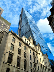 Leadenhall Building, London, England (duaneschermerhorn) Tags: architecture building skyscraper structure highrise architect modern contemporary modernarchitecture contemporaryarchitecture reflection reflective reflectivebuilding glass windows glassclad mirror distortion sky clouds blue white