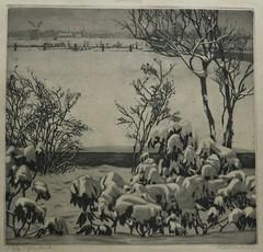 Arend Hendriks - Garden in the snow, etching (Elisa1880) Tags: arend hendriks tuintje de sneeuw garden snow ets etching winter kunst art