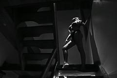 Human sculpture II (alestaleiro) Tags: sculpture human girl woman sensual sexi sexy mono monochrome monocromo bw blackwhite corpo cuerto anatomia femenina contraluces stairs bikini lowkey blonde frau ragazza model posing alestaleiro