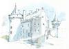 Suscinio, Morbihan, France (Linda Vanysacker - Van den Mooter) Tags: suscinio morbihan watercolor watercolour visiblytalented vanysacker vandenmooter tekening sketch schets potlood pencil lindavanysackervandenmooter lindavandenmooter drawing dessin croquis crayon art aquarelle aquarell aquarel akvarell acuarela acquerello kasteel château castle manoir frankrijk france bretagne
