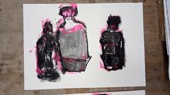 Wir sind alle Flaschen (raumoberbayern) Tags: acryl acrylic stilllife stilleben naturemorte pink black schwarz noir sketchbook skizzenblock malerei painting robbbilder bottles flaschen bouteille print umdruck