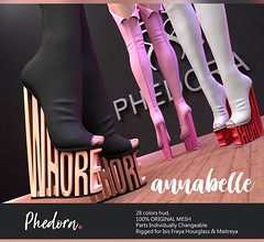 "Phedora. for Fetish Fair - 2018 powered by WeDo SL Events- ""Annabelle"" boots (Celena Galli ~ phedora.) Tags: sl secondlife second life phedora shoes mesh 3d heels boots sexy sassy classy chic fashion event fetish fair wedoslevents 28colors maitreya lara belleza isis freya slink hourglass woman footwear originalcontent 100mesh shopping addict whore"