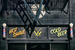 Hot Shave / Cold Beer (Ian Sane) Tags: ian sane images hotshavecoldbeer rooksbarbershop downtown portland oregon urban photography building facade barber poles canon eos 5ds r camera ef70200mm f28l is usm lens