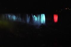 American Falls and Veil Falls at Night (pmvarsa) Tags: spring 2000 analog film 35mm 135 kodak kodakroyalgold400 royalgold 400iso colour nikonsupercoolscan9000ed nikon coolscan cans2s canon ftb canonftb classic camera river rapids gorge usa american veil falls lights night waterfall rocks niagara region ontario canada