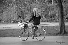 Even de hond uitlaten. (Digifred.) Tags: digifred 2018 amsterdam nikond500 nederland netherlands holland iamsterdam straat street city grachten streetphotography blackwhite blackandwhite monochrome toeristen candid vondelpark girls tourist girl people dog bike cycling bicycle hond fiets