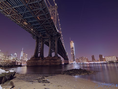 Looking Up At The Giant (Brian D' Rozario) Tags: brian19869 briandrozario nikon d750 hdr highdynamicrange manhattan bridge city night light lights reflection reflections water river brooklynbridgepark structure architecture metal metallic strength nyc newyork ny highrise skyscraper cityscape nightscape