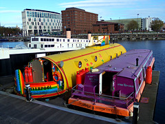 Color at Salthouse Dock, Liverpool, England (teresue) Tags: uk england liverpool merseyside 2017 salthousedock yellowsubmarine canalboat