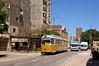 Unter den Klängen der Rufe zum Mittagsgebet fährt GT6-Wagen 827 durch die Straße Al Kiwary Al Kadem (Frederik Buchleitner) Tags: 827 alexandria duewag düwag gt6 ks kopenhagen københavnssporveje linie6 misr sechsachser sporveje strasenbahn streetcar tram trambahn aliskandariyya ägypten الإسكندرية مصر