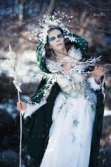 """TEATRONATURA """"The pathway of the crystals"""" (valeriafoglia) Tags: photography photo pretty lady light model makeup magic woods white snow art fantasy fairy forest colors creative composition capture creature nature"""