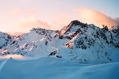 Un Noël dans les Alpes (Hëllø i'm Wild) Tags: analog film 35mm canonae1 winter mountains snow fujisuperia400iso hike goldenhour sunset nature