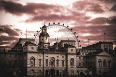 Burning Sky in London (aris.sfakianos) Tags: england london londoneye mono monochrome architecture city moody sky clouds buildings travelling travel red fire burning uk europe walk