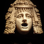 Marble theater mask depicting a woman from a popular Roman tragedy Pompeii 1st century CE thumbnail