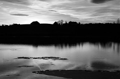 evening scene in monochrome (EllaH52) Tags: water river evening greyscale monochrome blackwhite reflections light shadows