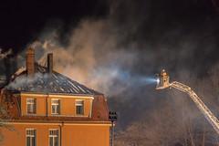Nah an der Gefahr - Close to danger (ralfkai41) Tags: feuerwehr gefahr feuer firedepartment firefighter building house roof fire dach haus rettungseinsatz brand burning