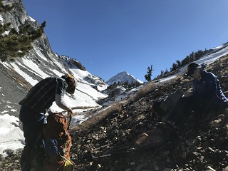 2nd trail break, with a good view of Red Slate peak and the North Couloir